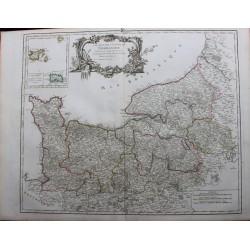 Mapa de Normandía - 1751 -...