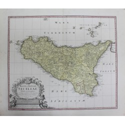 Map of Sicily - by J.B Homann